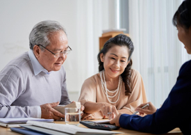 Couple working with an advisor